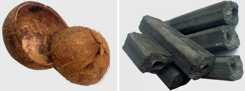 Making Coconut Shell into Charcoal Briquettes