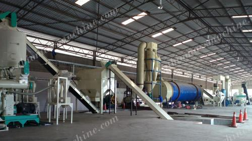 complete wood pellet making line panorama