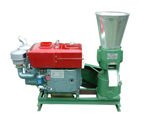 Diesel engine driven flat die pellet mill