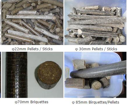 Final Briquettes/Pellets of GC-MBP1000 Fuel Briquette Press